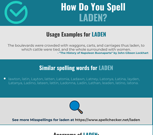 Correct spelling for laden