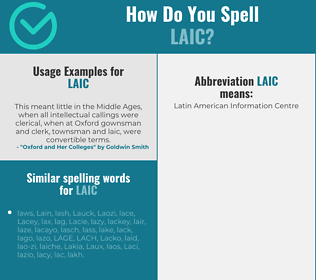 Correct spelling for laic
