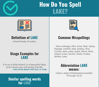 Correct spelling for lake