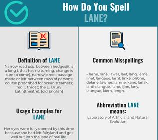 Correct spelling for lane