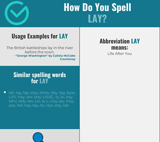 Correct spelling for lay