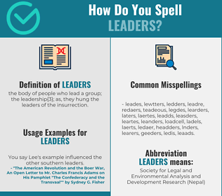 Correct spelling for leaders
