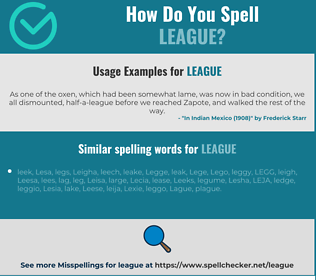 Correct spelling for league