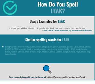 Correct spelling for leak