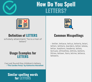Correct spelling for letters