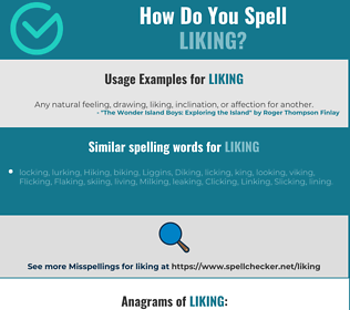 Correct spelling for liking