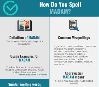 Correct spelling for madam