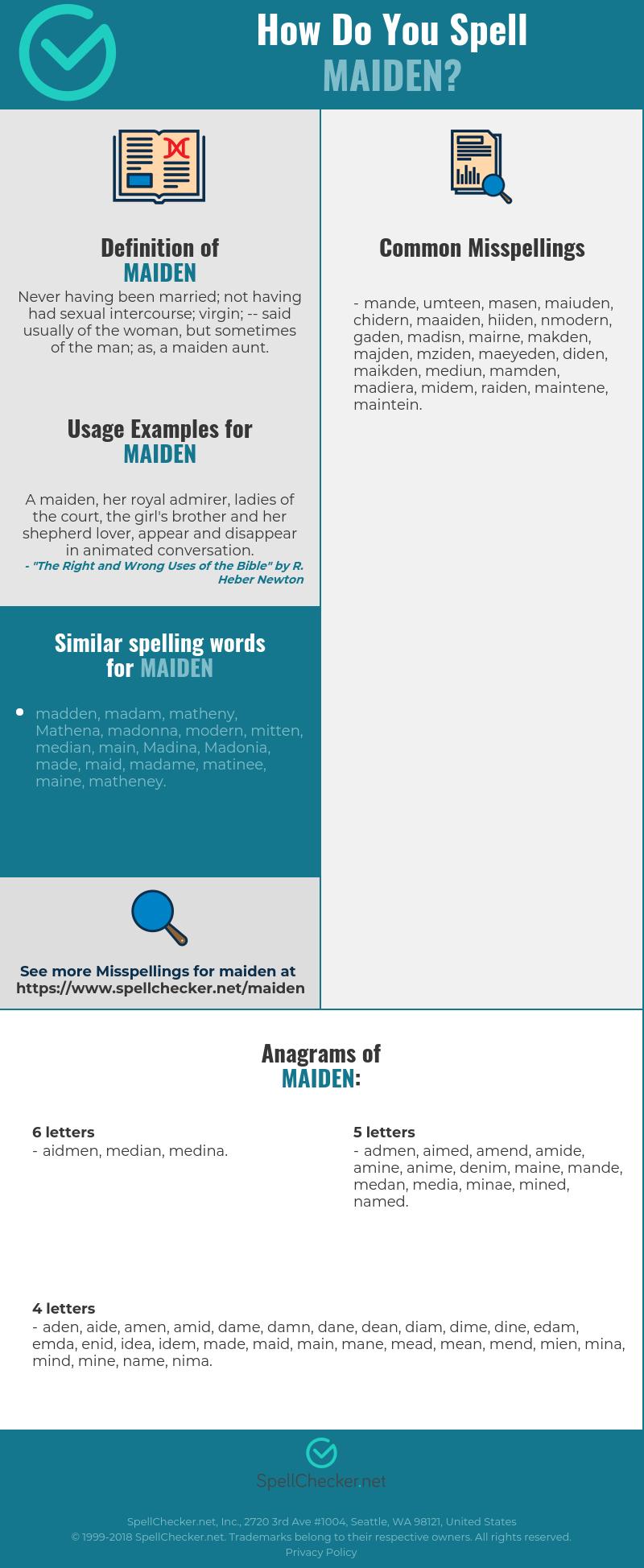 Correct spelling for maiden [Infographic] | Spellchecker net
