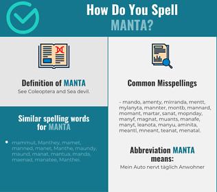 Correct spelling for manta