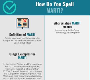 Correct spelling for marti