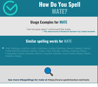 Correct spelling for mate