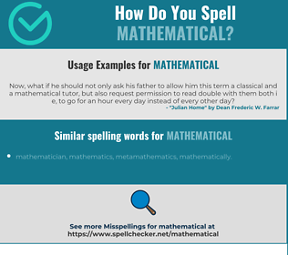 Correct spelling for mathematical