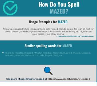 Correct spelling for mazed