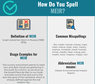 Correct spelling for meir