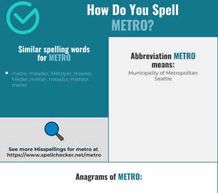 Correct spelling for metro