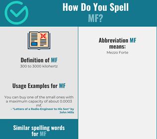 Correct spelling for mf