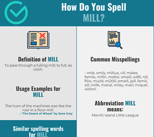 Correct spelling for mill