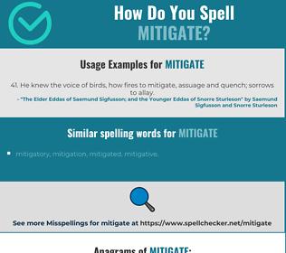 Correct spelling for mitigate
