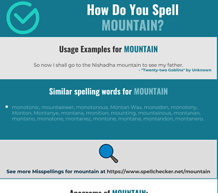 Correct spelling for mountain