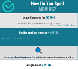 Correct spelling for moving