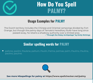 Correct spelling for palmy