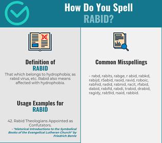 Correct spelling for rabid