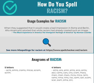Correct spelling for racism