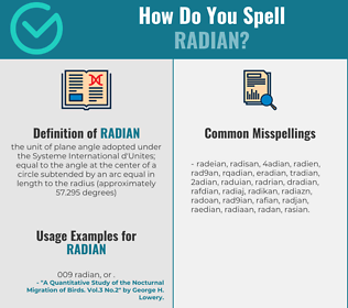 Correct spelling for radian