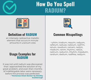 Correct spelling for radium