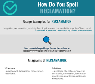 Correct spelling for reclamation