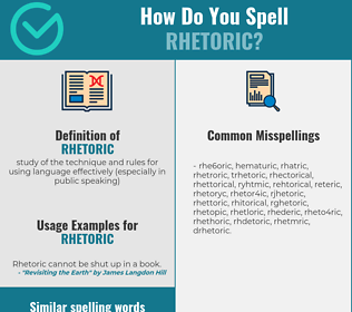 Correct spelling for rhetoric