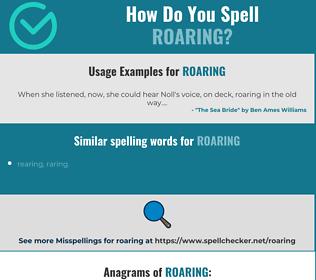 Correct spelling for roaring