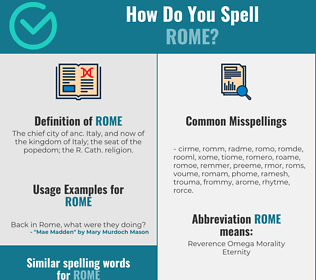 Correct spelling for rome