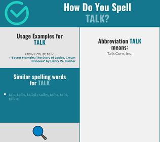 Correct spelling for talk