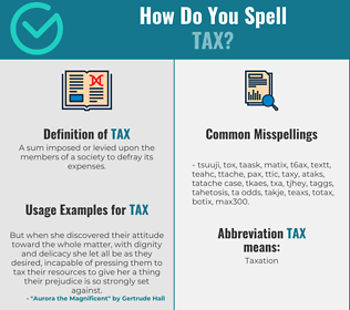 Correct spelling for tax