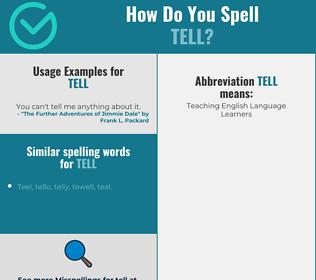 Correct spelling for tell