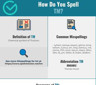 Correct spelling for tm
