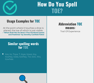 Correct spelling for toe