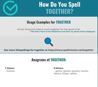 Correct spelling for together