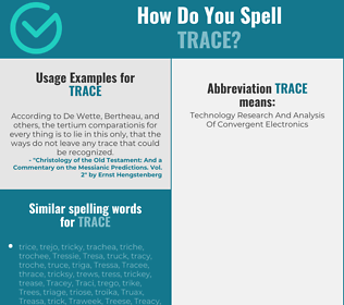 Correct spelling for trace