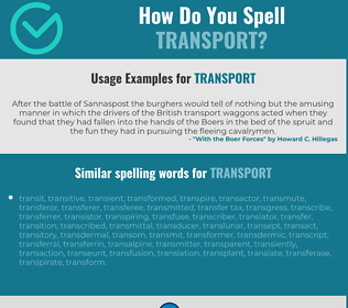 Correct spelling for transport