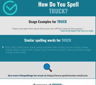 Correct spelling for truck