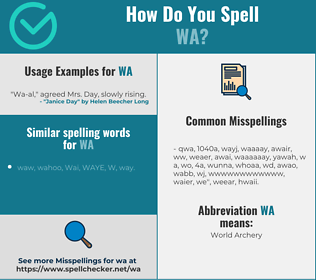 Correct spelling for wa