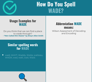 Correct spelling for wade
