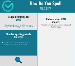 Correct spelling for wait