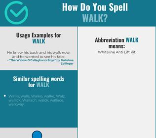 Correct spelling for walk