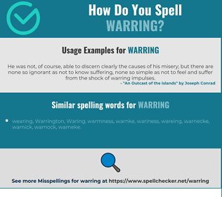 Correct spelling for warring