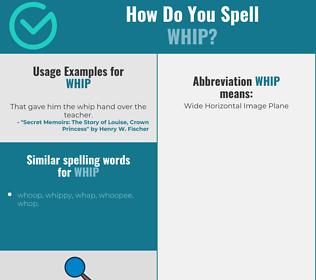 Correct spelling for whip