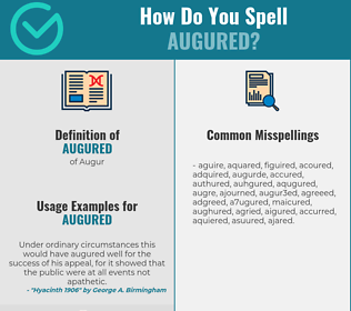 Correct spelling for Augured