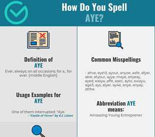 Correct spelling for Aye
